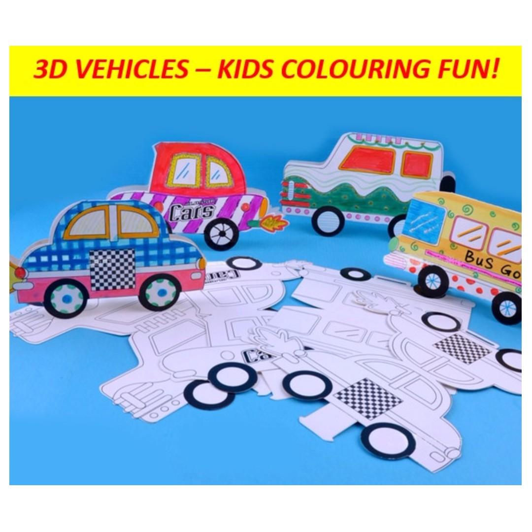 3D Vehicles Car Bus Colouring Fun