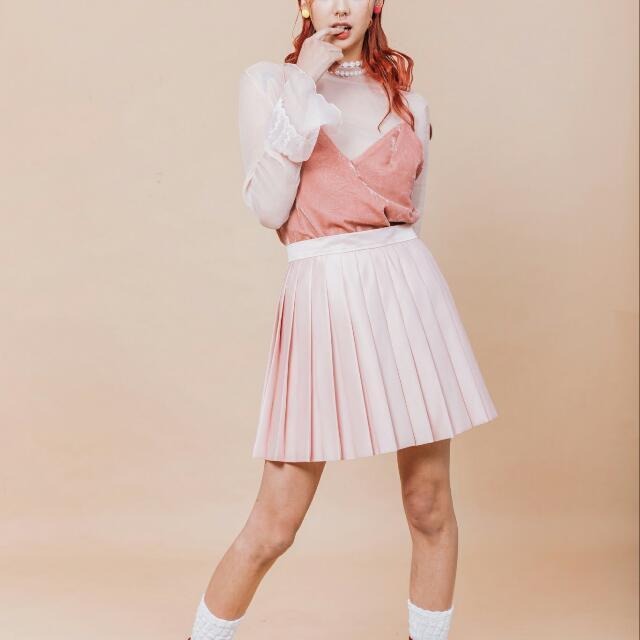 粉紅百褶裙(自設自製)