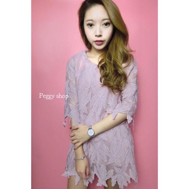(現貨)實穿-美哭✨韓國甜美蕾絲縷空五分袖粉色洋裝✔️