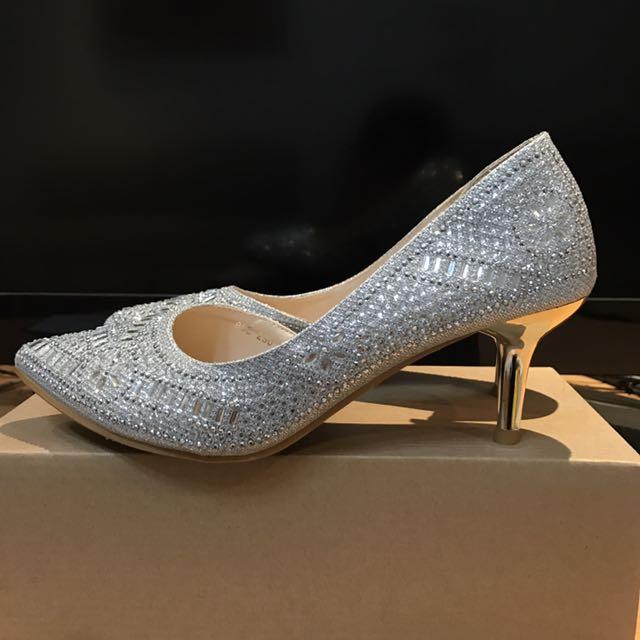 銀色水鑽亮片跟鞋婚鞋