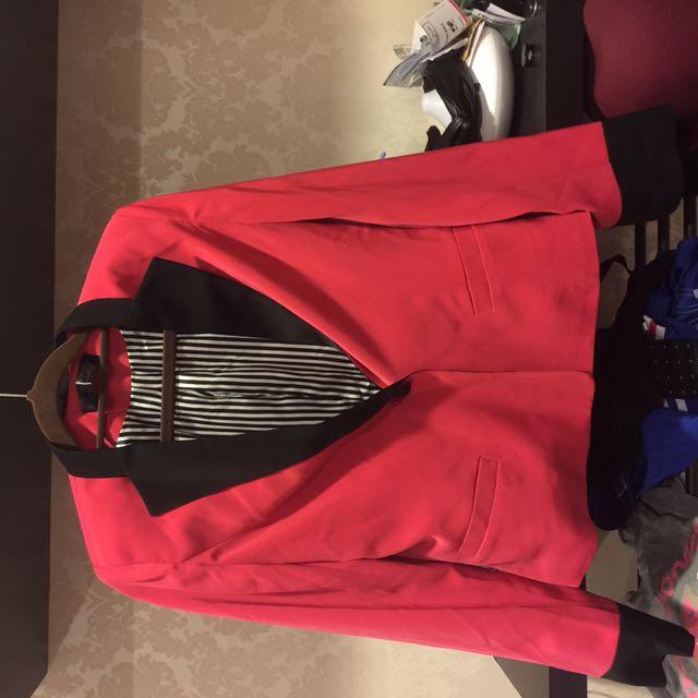 蜜桃紅復古條紋西裝外套 #轉轉來交換