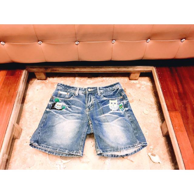民族嬉皮時尚貓頭鷹刺繡深色牛仔及膝中長丹寧牛仔短褲