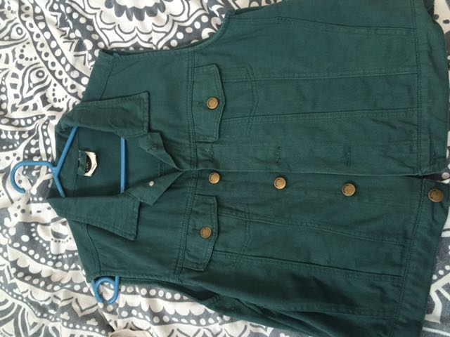 All About Eve Green Denim Vest