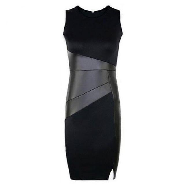 Black Dress Sexy Bodyfit Dress Wanita Slim Fuax Leather
