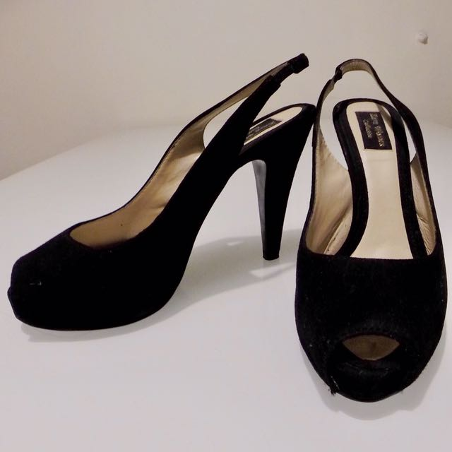 Black Suede Sling Back Heels Pumps Zara Size 9