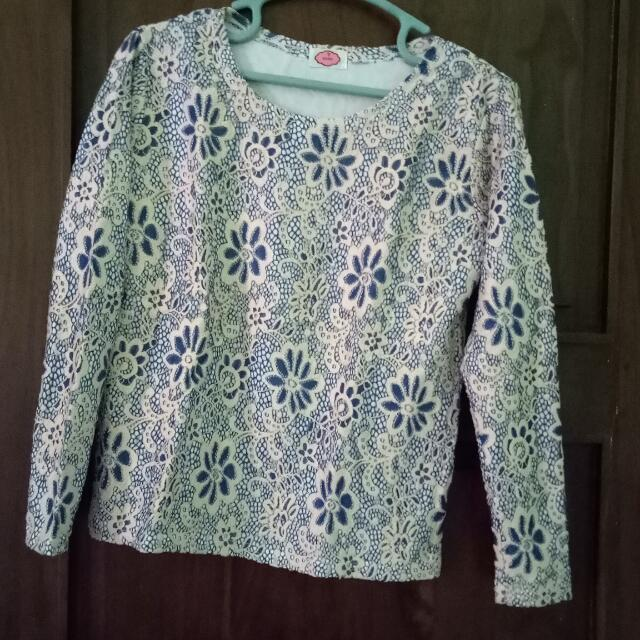Blouse Brokat Biru