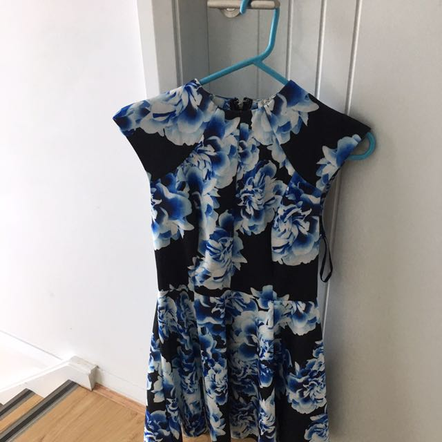 Blue And Black Flower Dress
