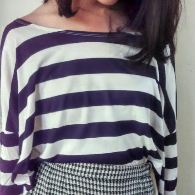 B&W Long Sleeves Stripes Croptop