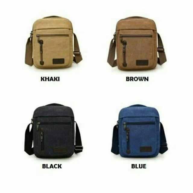 Canvas Sling Bag / Tas Selempang Canvas Style R, Olshop Fashion, Olshop Pria di