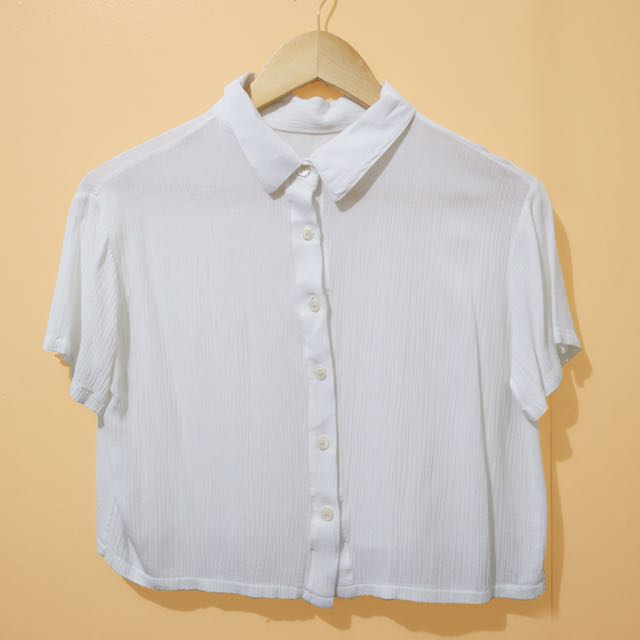 Cropped Button Down Blouse (white)