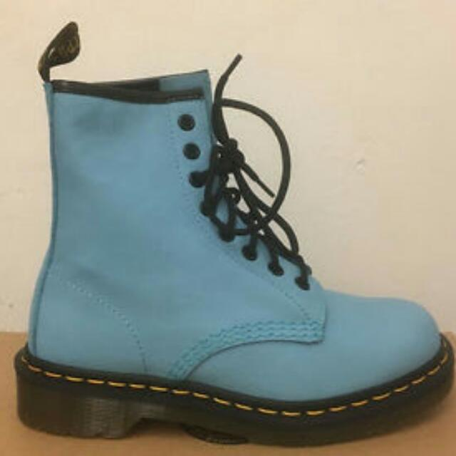 Dr. Marten 1460 Wild Aqua Virginia Leather Boots Size 6 UK 39 EU 8 US