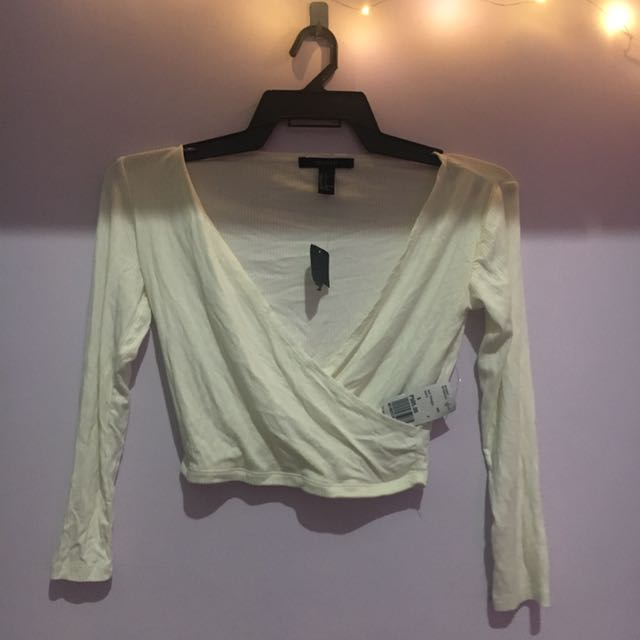 F21 White Crop Top