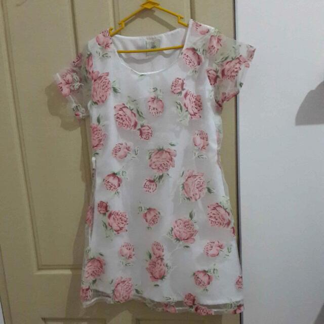 Flower Dress // Fot To L BESAR //bisa Untuk Ibu Hamil