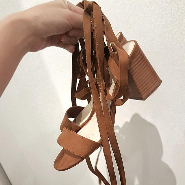 Forever New Brown Laced Up Heels
