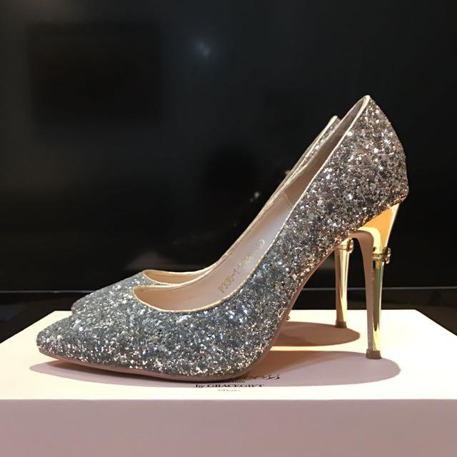 Grace gift 水鑽亮片高跟鞋婚鞋24號