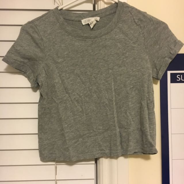 Grey Crew Neck Crop Top