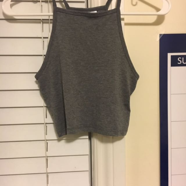 Grey High Neck Crop Top