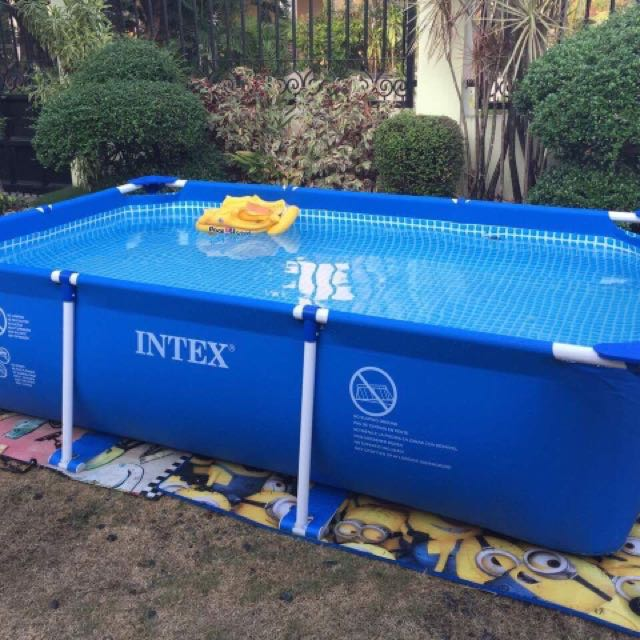 INTEX RECTANGULAR FRAME POOL 3.00M X 2.00M X 75CM, Babies & Kids ...