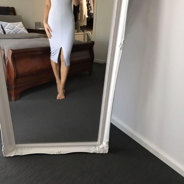 Kookaï Pale Blue Midi Dress With Split Down The Front