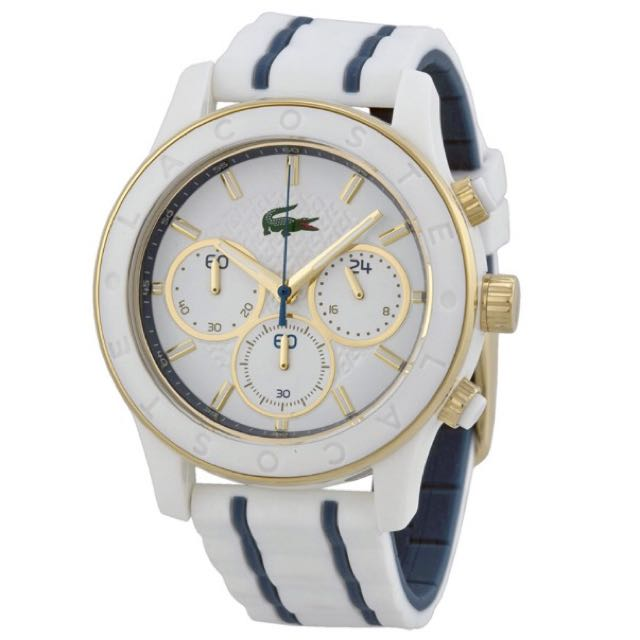 LACOSTE Charlotte Chronograph White Dial White Rubber Ladies Watch