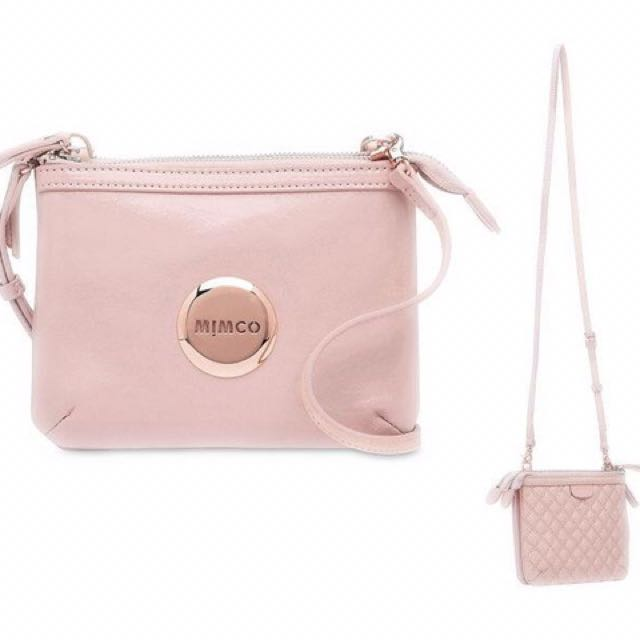 Mimco Secret Couch Blossom Pink Patent Leather Rose Gold
