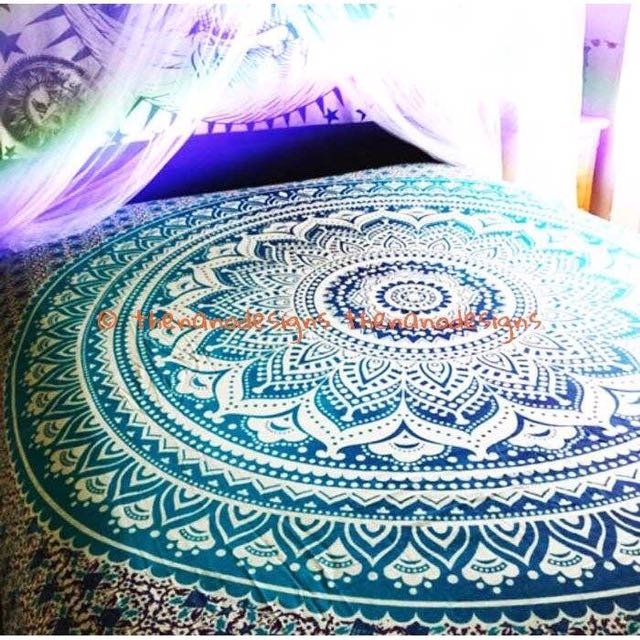 Ombré Large Mandala Indian Blue Tapestry Hippie Wall Hanging Dorm Decor