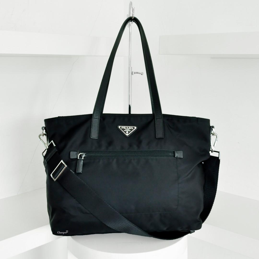 e7d3a64454eb Prada BR4842 Vela Nylon Tote Bag with Strap Nero (2051-10), Luxury ...