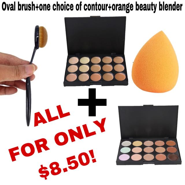 Professional Concealer Palette15 Color Makeup Facial Contour Palette Camouflage Cream Cosmetic Makeup base Palettes Maquiagem + Oval Brush