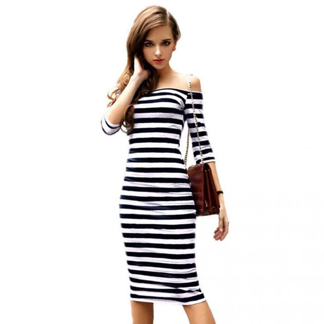 Sexy Bodyfit Dress Wanita Slim Dress (Strip hitam putih)