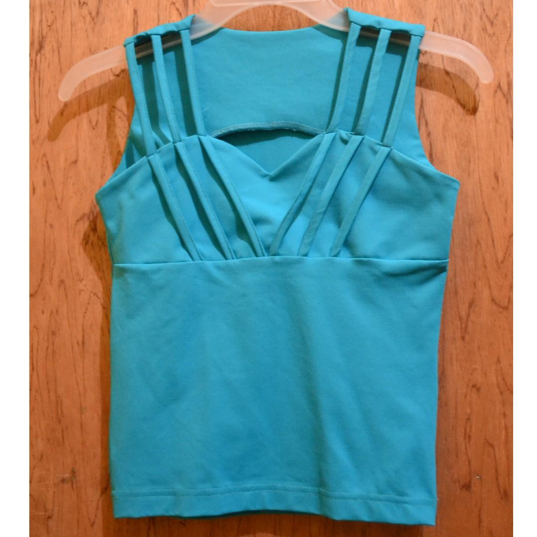 Sleeveless bluegreen top