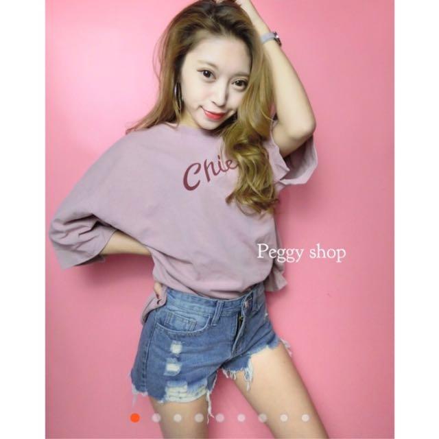 (現貨)實穿-粉嫩色可愛簡約袖開叉T恤✔️