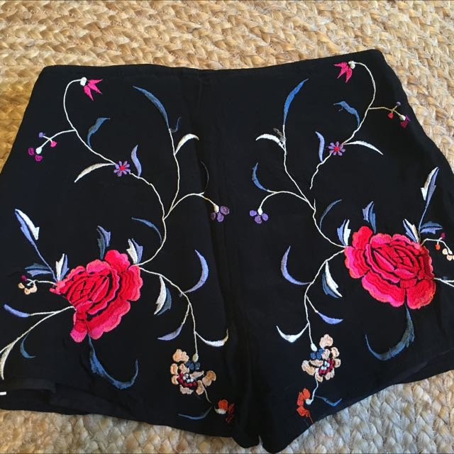 Top Shop Embroidered Shorts