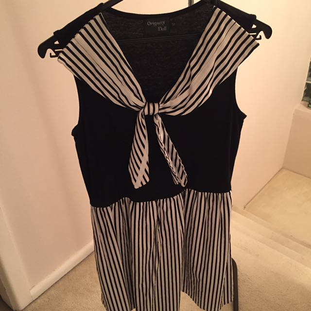 Used Origami Doll Black And White Sailor Dress