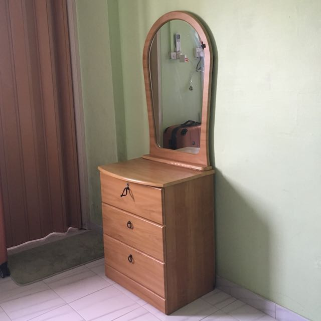Used Wooden Dresser with Mirror