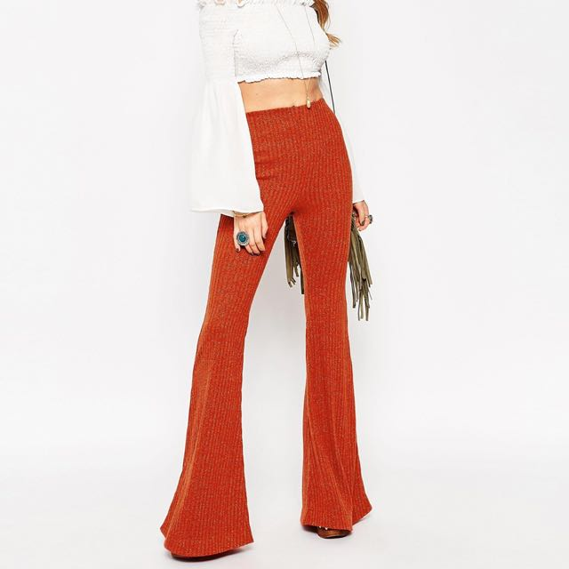 Vintage Glitter Bell Bottom Pants, Brick Orange Wool - Size 10