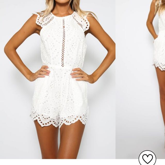 White Peppermayo Playsuit