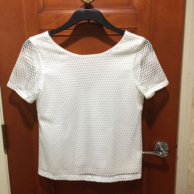 White Textured Top With Low Back