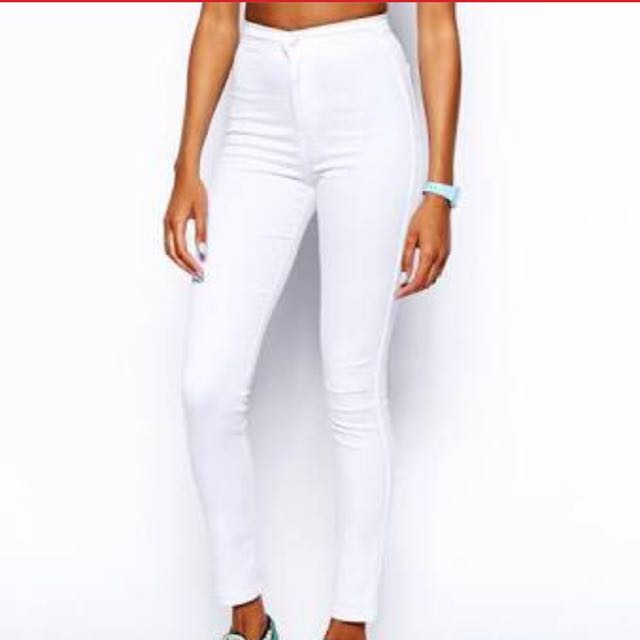 WHITE TOP SHOP JONI JEANS