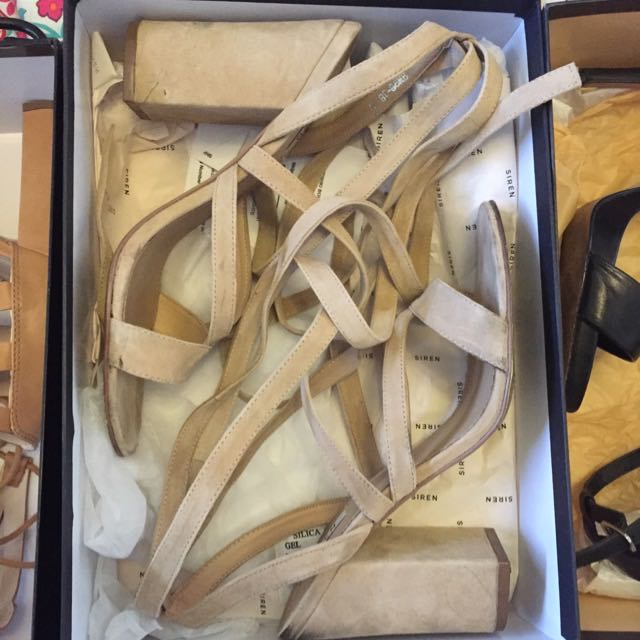 Women's Beige Suede Strappy Heels