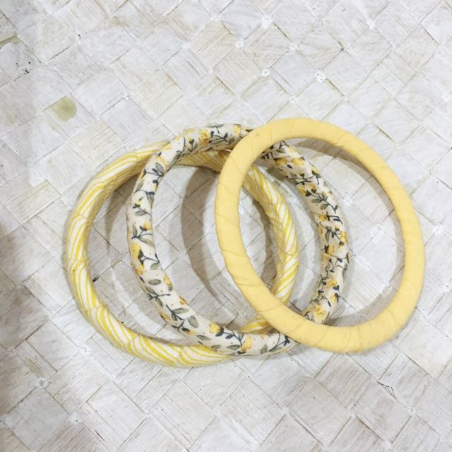 Yellow Floral Bangles Set