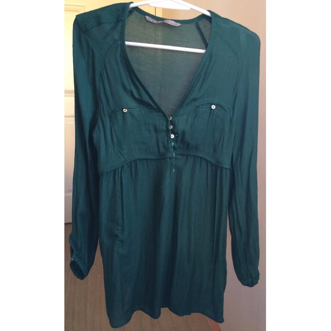 Zara Green Sheer Top