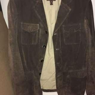 Danier Brown Suede Button Up Jacket