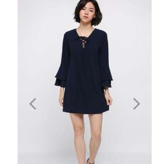 LB Dyne Lace-up Bell Sleeve Dress
