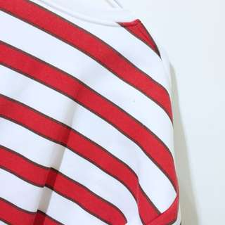 🚚 紅白條紋棉T