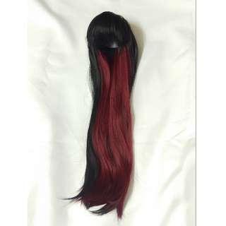 BJD DD 3分娃用紅黑混色長假髮