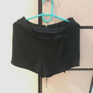 Forever 21 Black High Waist Sheer Shorts With Tie