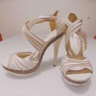 White Strappy Rusty Lopez Heels Size 9