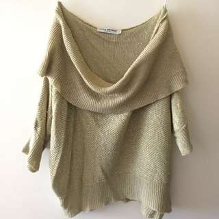 Gold Knitwear Off Shoulder