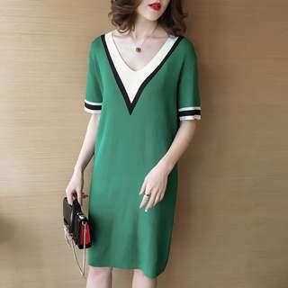 R123  春裝新款韓版拼色V領條紋針織連身裙