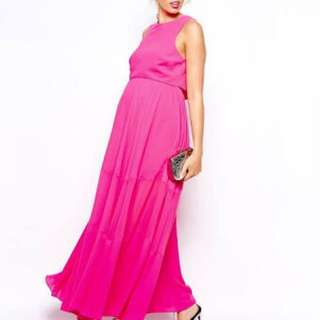 Asos Double Layer Maxi Dress With Mesh Inserts- Pink 8